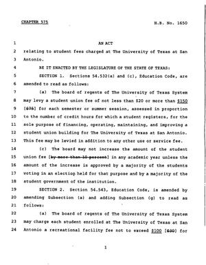 Primary view of object titled '78th Texas Legislature, Regular Session, House Bill 1650, Chapter 575'.