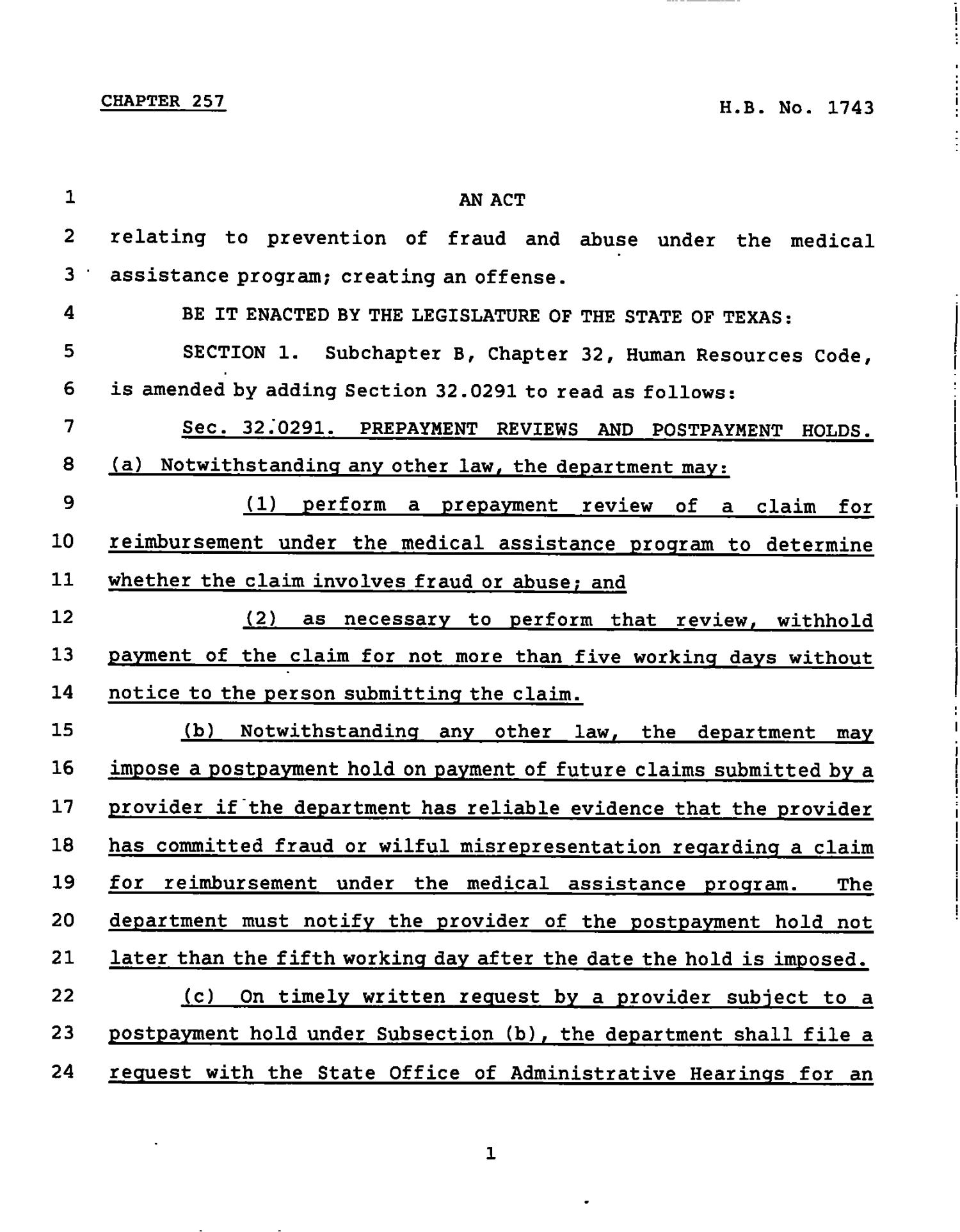 78th Texas Legislature, Regular Session, House Bill 1743, Chapter 257                                                                                                      [Sequence #]: 1 of 21