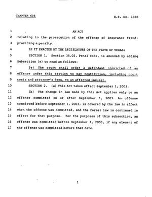 Primary view of object titled '78th Texas Legislature, Regular Session, House Bill 1838, Chapter 605'.