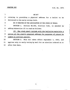 Primary view of object titled '78th Texas Legislature, Regular Session, House Bill 1975, Chapter 620'.