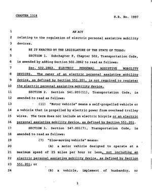 Primary view of object titled '78th Texas Legislature, Regular Session, House Bill 1997, Chapter 1318'.