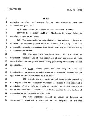 Primary view of object titled '78th Texas Legislature, Regular Session, House Bill 2005, Chapter 625'.