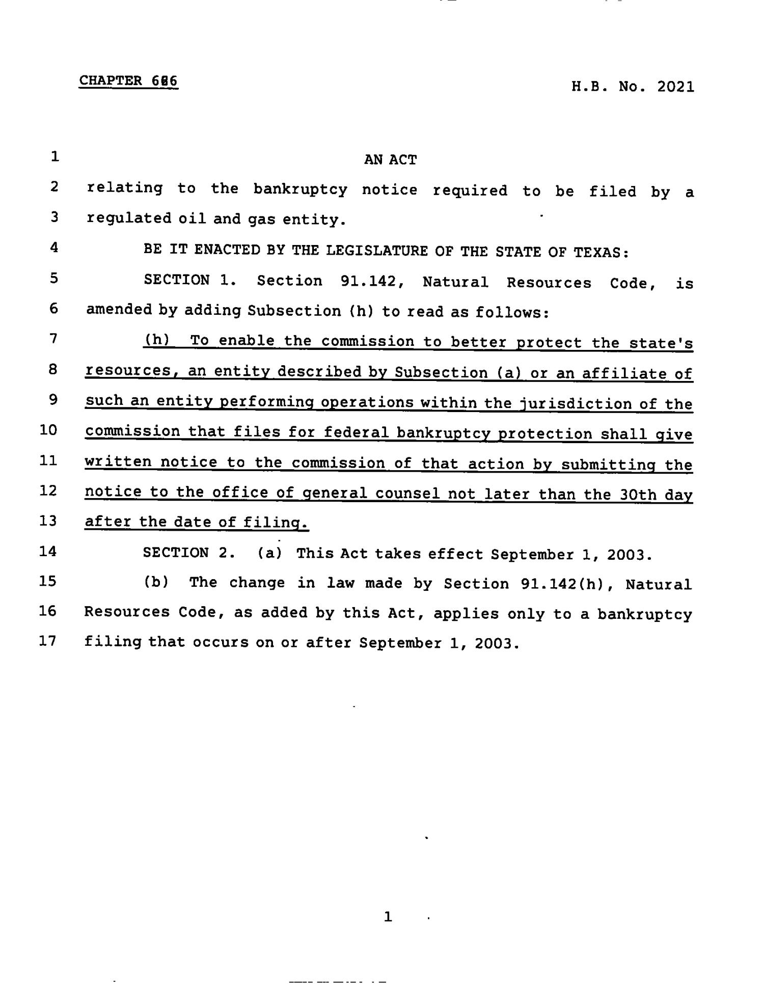 78th Texas Legislature, Regular Session, House Bill 2021, Chapter 626                                                                                                      [Sequence #]: 1 of 2