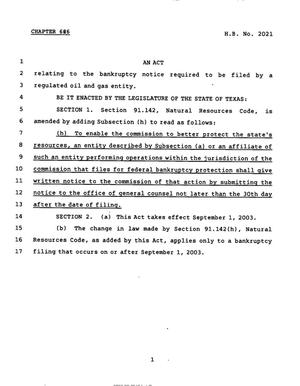Primary view of object titled '78th Texas Legislature, Regular Session, House Bill 2021, Chapter 626'.