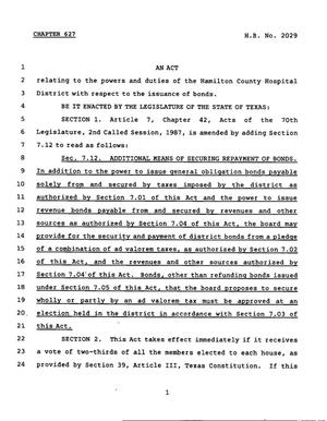 Primary view of object titled '78th Texas Legislature, Regular Session, House Bill 2029, Chapter 627'.
