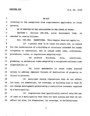 Primary view of object titled '78th Texas Legislature, Regular Session, House Bill 2130, Chapter 646'.