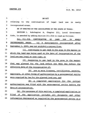 Primary view of object titled '78th Texas Legislature, Regular Session, House Bill 2212, Chapter 279'.