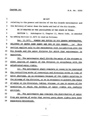 Primary view of object titled '78th Texas Legislature, Regular Session, House Bill 2250, Chapter 281'.