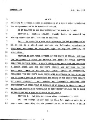 Primary view of object titled '78th Texas Legislature, Regular Session, House Bill 227, Chapter 184'.