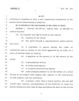 Primary view of object titled '78th Texas Legislature, Regular Session, House Bill 233, Chapter 37'.