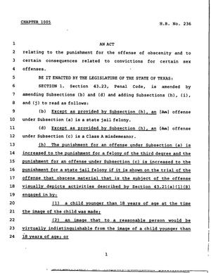 Primary view of object titled '78th Texas Legislature, Regular Session, House Bill 236, Chapter 1005'.