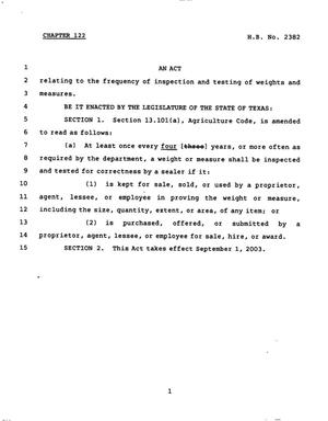 Primary view of object titled '78th Texas Legislature, Regular Session, House Bill 2382, Chapter 122'.