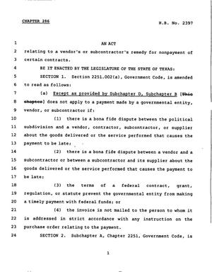 Primary view of object titled '78th Texas Legislature, Regular Session, House Bill 2397, Chapter 286'.