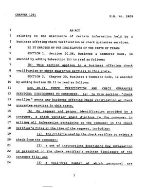 Primary view of object titled '78th Texas Legislature, Regular Session, House Bill 2409, Chapter 1291'.
