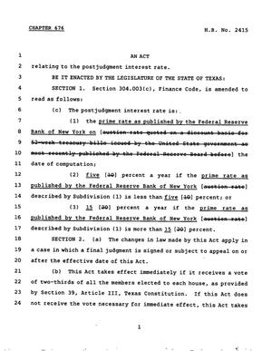 Primary view of object titled '78th Texas Legislature, Regular Session, House Bill 2415, Chapter 676'.