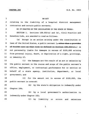 78th Texas Legislature, Regular Session, House Bill 2453, Chapter 289, 78th Legislature of Texas, House Bills, An act relating to the liability of a hospital district management contractor and certain public servants.