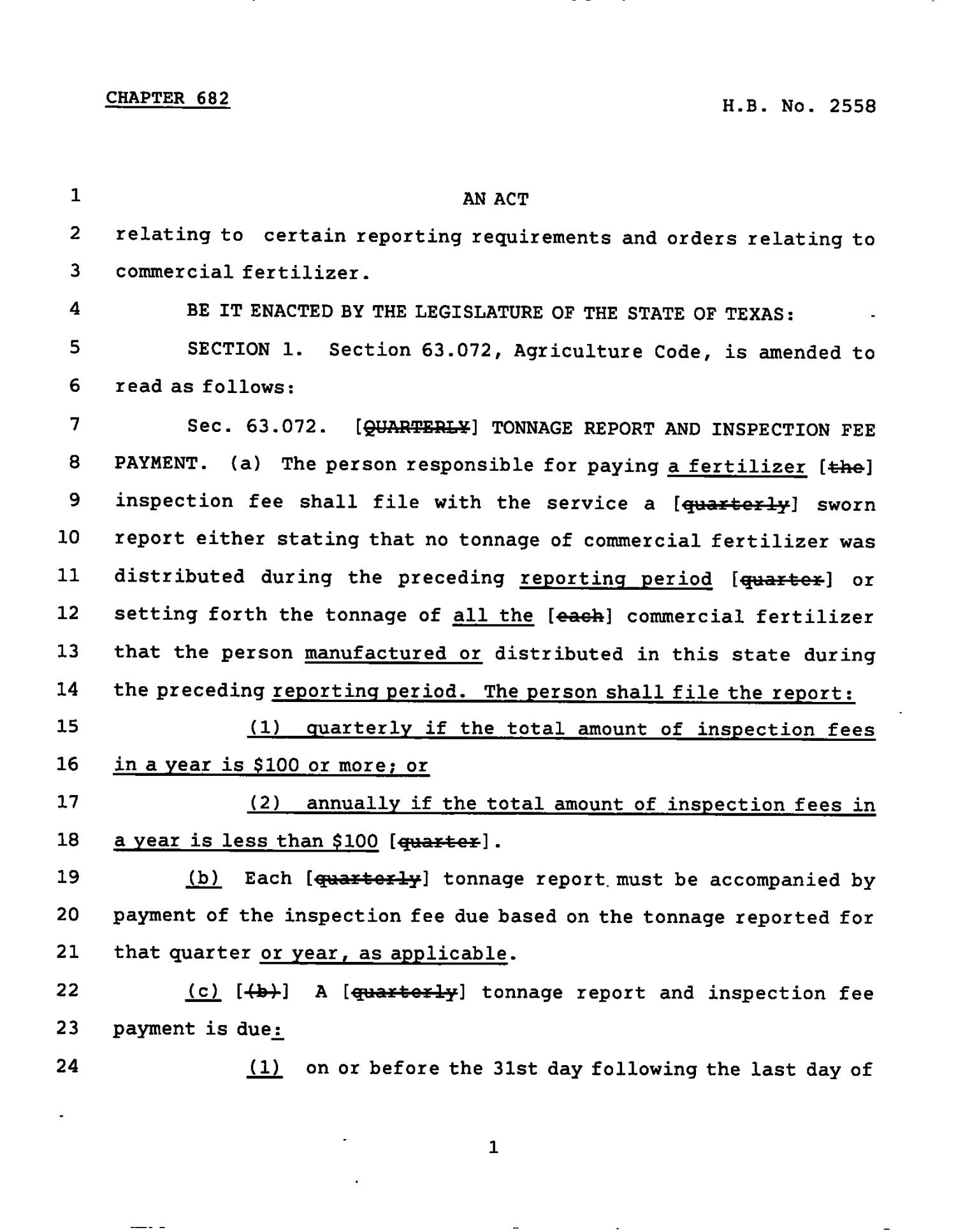 78th Texas Legislature, Regular Session, House Bill 2558, Chapter 682                                                                                                      [Sequence #]: 1 of 4