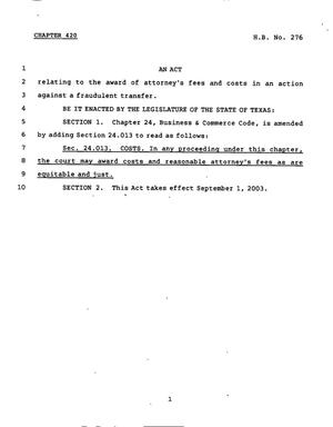 Primary view of object titled '78th Texas Legislature, Regular Session, House Bill 276, Chapter 420'.