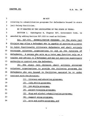 Primary view of object titled '78th Texas Legislature, Regular Session, House Bill 28, Chapter 391'.