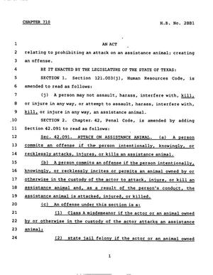 Primary view of object titled '78th Texas Legislature, Regular Session, House Bill 2881, Chapter 710'.