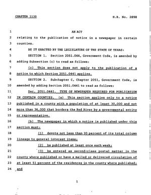 Primary view of object titled '78th Texas Legislature, Regular Session, House Bill 2898, Chapter 1130'.