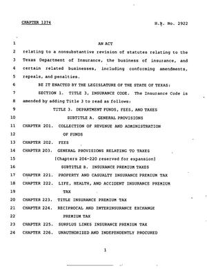Primary view of object titled '78th Texas Legislature, Regular Session, House Bill 2922, Chapter 1274'.