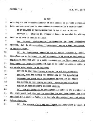 Primary view of object titled '78th Texas Legislature, Regular Session, House Bill 2930, Chapter 715'.