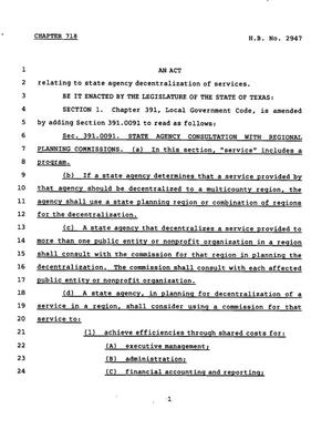 Primary view of object titled '78th Texas Legislature, Regular Session, House Bill 2947, Chapter 718'.