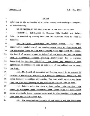 Primary view of object titled '78th Texas Legislature, Regular Session, House Bill 2952, Chapter 719'.