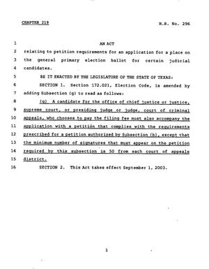 Primary view of object titled '78th Texas Legislature, Regular Session, House Bill 296, Chapter 219'.