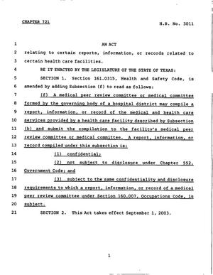 78th Texas Legislature, Regular Session, House Bill 3011, Chapter 721