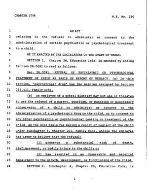 Primary view of object titled '78th Texas Legislature, Regular Session, House Bill 320, Chapter 1008'.