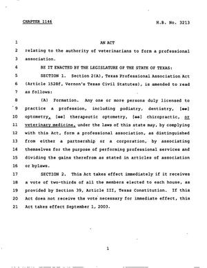 Primary view of object titled '78th Texas Legislature, Regular Session, House Bill 3213, Chapter 1146'.