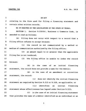 78th Texas Legislature, Regular Session, House Bill 3414, Chapter 748