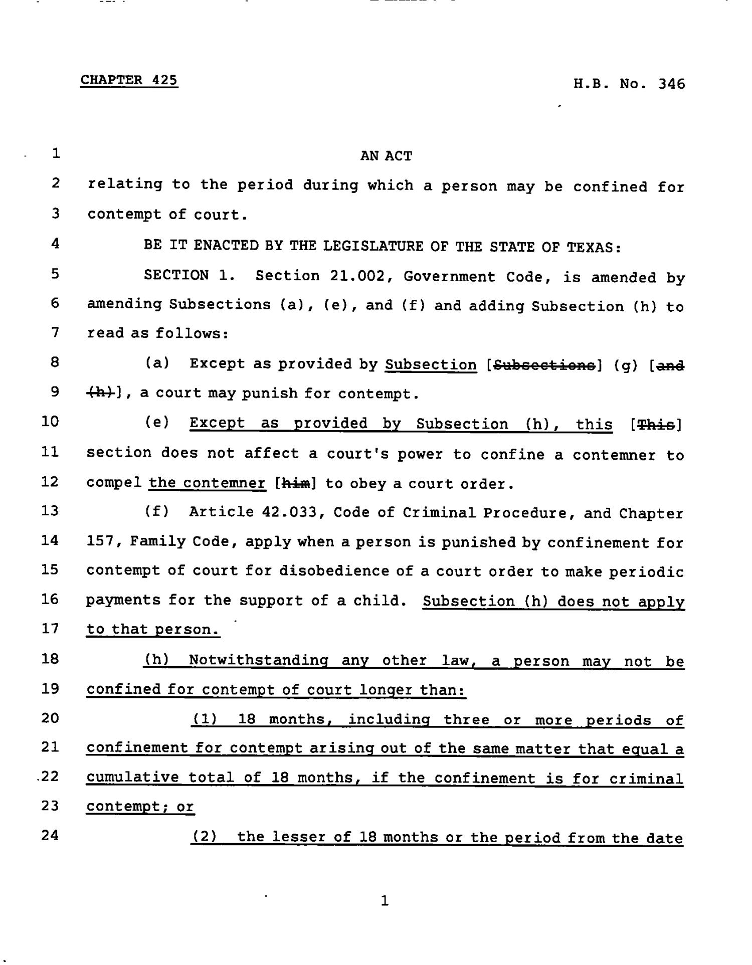 78th Texas Legislature, Regular Session, House Bill 346, Chapter 425                                                                                                      [Sequence #]: 1 of 3