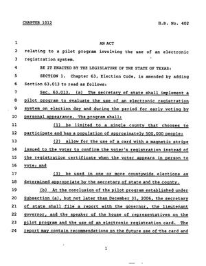 Primary view of object titled '78th Texas Legislature, Regular Session, House Bill 402, Chapter 1012'.