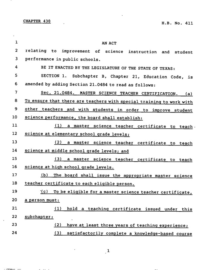 78th Texas Legislature Regular Session House Bill 411 Chapter 430
