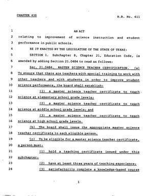 Primary view of object titled '78th Texas Legislature, Regular Session, House Bill 411, Chapter 430'.
