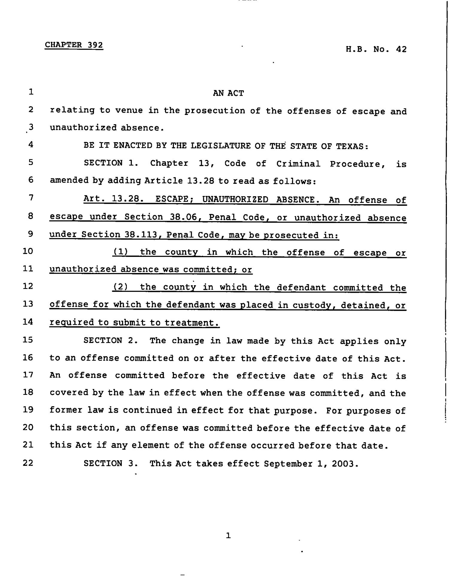 78th Texas Legislature, Regular Session, House Bill 42, Chapter 392                                                                                                      [Sequence #]: 1 of 2