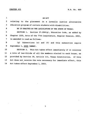 Primary view of object titled '78th Texas Legislature, Regular Session, House Bill 469, Chapter 435'.