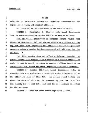 78th Texas Legislature, Regular Session, House Bill 554, Chapter 439