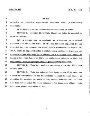 Primary view of object titled '78th Texas Legislature, Regular Session, House Bill 558, Chapter 440'.
