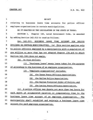 Primary view of object titled '78th Texas Legislature, Regular Session, House Bill 622, Chapter 446'.
