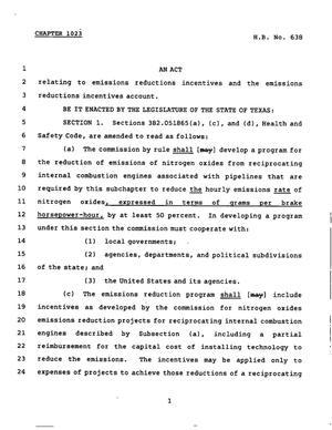 Primary view of object titled '78th Texas Legislature, Regular Session, House Bill 638, Chapter 1023'.