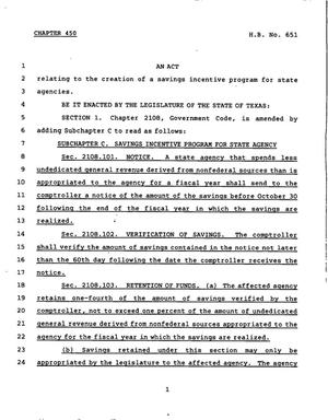 Primary view of object titled '78th Texas Legislature, Regular Session, House Bill 651, Chapter 450'.