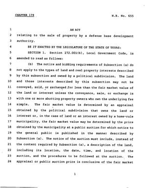 Primary view of object titled '78th Texas Legislature, Regular Session, House Bill 655, Chapter 179'.