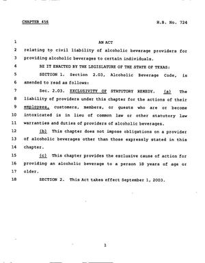 Primary view of object titled '78th Texas Legislature, Regular Session, House Bill 724, Chapter 456'.
