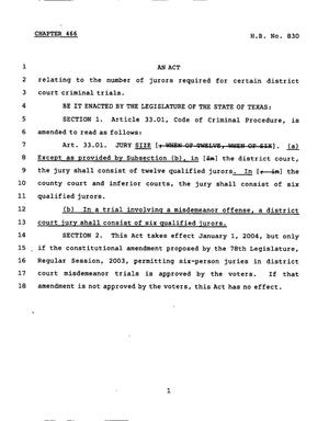 Primary view of object titled '78th Texas Legislature, Regular Session, House Bill 830, Chapter 466'.