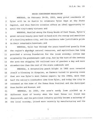 Primary view of object titled '78th Texas Legislature, Regular Session, House Concurrent Resolution 25'.