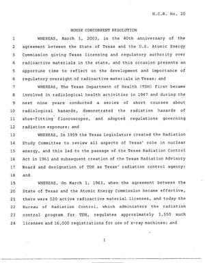 Primary view of object titled '78th Texas Legislature, Regular Session, House Concurrent Resolution 20'.